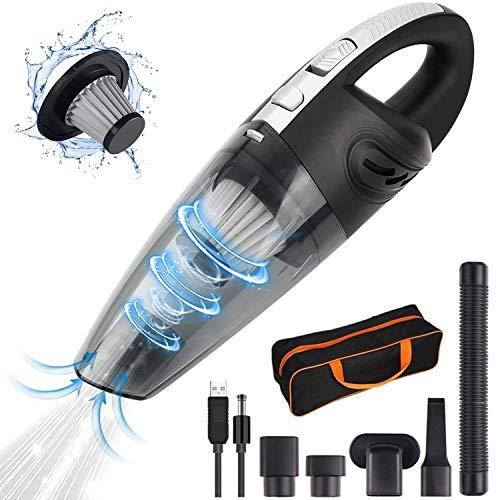 bangminda Handstaubsauger, Leicht USB Nass & Trocken Akku Staubsauger Kabellos 120W, mit Waschbarer Filter, Weiches Rohr, Fugendüse, Tasche für Haus Auto