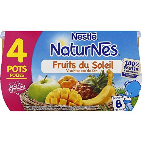 Nestlé - Naturnes - Petits pots, fruits du soleil, dès 8 mois, sans sucres ajoutés - Les 4 pots de 130g - (pour la quantité plus que 1 nous vous remboursons le port supplémentaire)