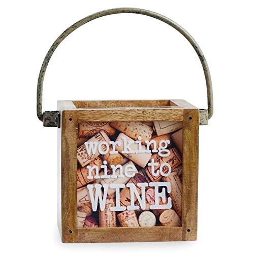 Mud Pie Mini Display Nine Wine Cork Box, Brown