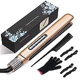 HiGoing Ceramic Hair Straightener, 2 in 1 Professional Flat Iron Titanium Hair Straighteners
