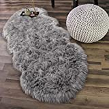 Noahas Faux Sheepskin Area Rugs Silky Long Wool Carpet for Living Room Bedroom, Children Play Dormitory Home Decor Rug, 2.6ft x 5.2ft, Grey