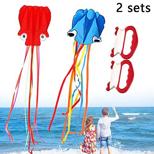 2 Stück / Set Drachen für Kinder Große Octopus Drachen Kinder Drachen mit Griffschnur für Beach Park...