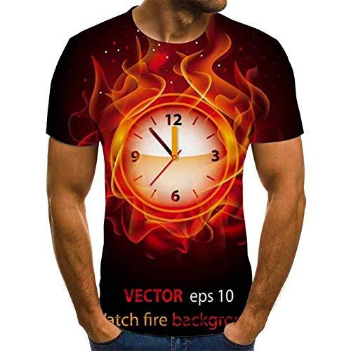 Camiseta De Impresión 3D,Flame Reloj Patrón Camiseta Top Casual Cuello Redondo Manga...