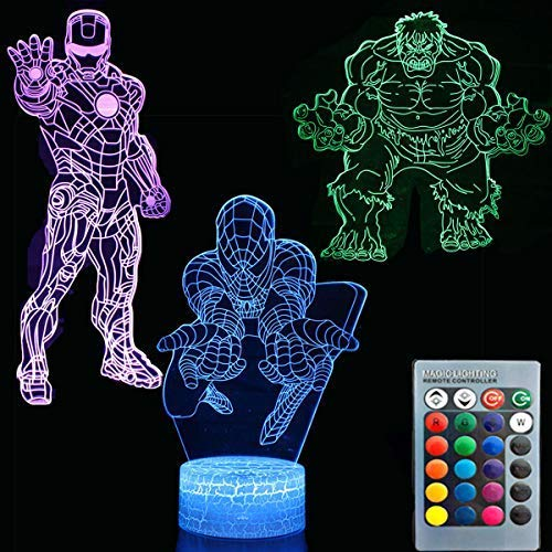 3D Illusion Avengers Super Hero Night Light Three Pattern Iron Man/Spiderman/The Hulk 7 Color Change Decor Lamp Desk Table Night Light Lamp for Kids Children