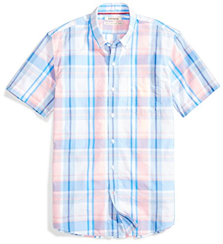 Amazon Brand - Goodthreads Men's Standard-Fit Short-Sleeve Large-Scale Plaid Shirt, Pink/Blue, Large