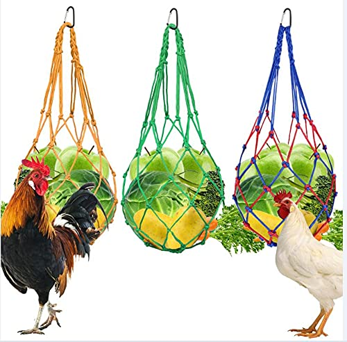 Chicken Vegetable String Bag Poultry Fruit Holder Chicken Cabbage Feeder Treat Feeding Tool with Hook for Hens Chicken Coop Toy for Hen Goose Duck