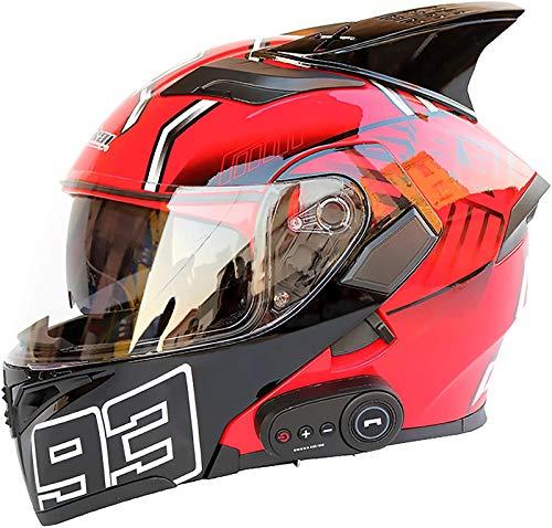 Feeyond Casco de moto ECE de cara completa, modular con doble visera para motocicleta, cascos Bluetooth, DOT/ECE/Ceapproved, radio FM MP3 integrada, C, XL (61/62 cm)