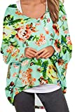 UGET Women's Sweater Casual Oversized Baggy Off-Shoulder Shirts Batwing Sleeve Pullover Shirts Tops L Multicolor Blue