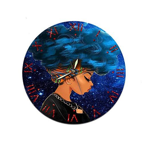 LUOYLYM Personalisierte Afrikanische Frauen Uhr Wanduhr Acryl Dekorative Uhr Mute Movement Clock Wohnzimmer Wanduhr Nr206 28CM