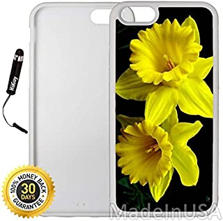 Custom iPhone 6 Plus/6S Plus Case (Yellow Daffodils) Edge-to-Edge Rubber White Cover with Shock and Scratch Protection   Lightweight, Ultra-Slim   Includes Stylus Pen by INNOSUB