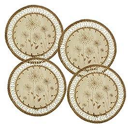 Lot de 4 sets de table ronds en rotin tressé – 33 cm – Pour table de salle à manger – Fabriqués à la main – En jonc de…