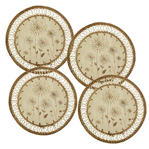 Set of 4 Pack Rattan Woven Placemats 33 cm (13') for Dining Table,Round Braided Place Mat Handmade Natural Seagrass Wicker Placemat Heat Resistant Hot Insulation Anti-Skidding Non-Slip (Wooden Floral)