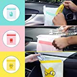 Biaoyun 45PCS Easy Stick-On Disposable Car Trash Bags,Disposable Stick to Anywhere -Leak Proof Vomit Bag,Watertight,Beautiful Kitchen Storage Bag,Durable,Suitable for Cars,Kitchens,Bedrooms