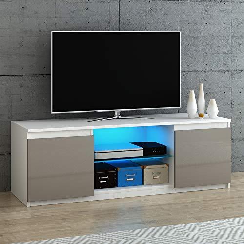 Panana TV Cabinets High Gloss Doors Matt Body RGB LED Lighted TV Stand Sideboard 120 x 39x 40 cm (Grey)