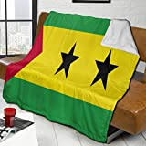 YUNJUAN Bandera de Santo Tomé y Príncipe, Manta de Cordero súper cálida, Manta para sofá Cama, 80'X 60', Funda cómoda y cálida para Todas Las Estaciones