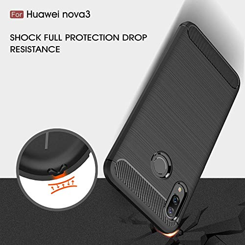 Toppix für Huawei Nova 3 Hülle, Handyhülle TPU Soft Case Silikonhülle mit Carbon Optik [Hitze-Dispersion] Backcover Schutzhülle Cover für Huawei Nova 3 (Schwarz) - 5