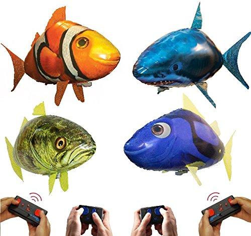 William Mark Air Swimmers AquAIRium 4-Pack: Flying Shark, Clownfish, Regal Tang, and Bass Fish