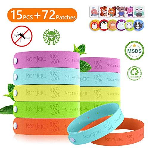 konjac 15pcs Bracelet Anti Moustique Enfant Matériau Naturel 100% Durant 250 Heures Répulsifs Protection Adultes contre Insectes Extérieure Intérieure Camping Radonnée (avec 72 Autocollants Répulsifs)