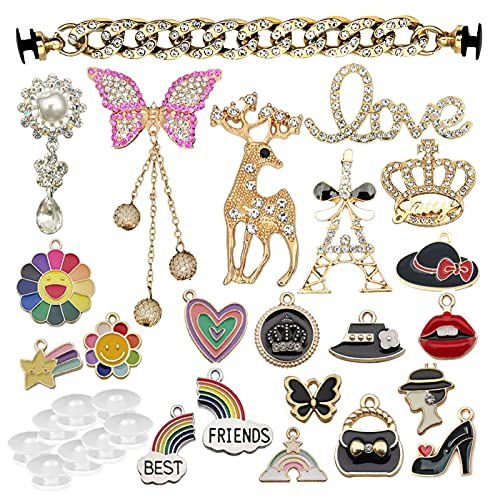 Trasfit Set of 22 Assorted Fashion Shoe Charms with Button Accessories for Clog Sandals Decoration for Kids Girls Women, DIY Phone Stickers Bracelet Jewelry Making (22 Charms with button)
