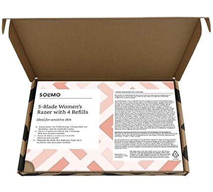 Marca Amazon - Solimo Maquinilla de afeitar de 5 hojas para mujer con 4 recambios