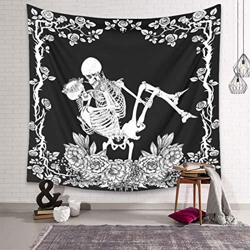 DYHF Cráneo Negro Tapiz de Calavera Humana, tapicería de la Pared de la Pared de la Pared del Dormitorio tapicería de la decoración del hogar 180x230cm