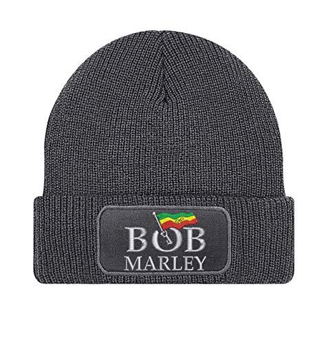 Natshop2000 Bob Marley rockband geborduurd logo beanie gebreide muts - STICK152 - GRIJS