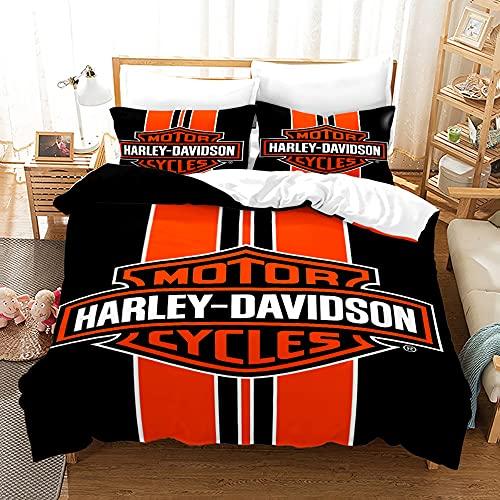Kseyic Juego de ropa de cama Harley, impresión 3D Anime Harley Motors, funda nórdica y 1 funda de almohada, 100% microfibra antialérgica, para niños y niños (b,220 x 240)