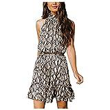 TYTUOO Vestido floral casual de mujer sin mangas con cuello halter y lazo en la cintura mini vestido de verano otoño playa vestido bohemio, A-amarillo, XXL
