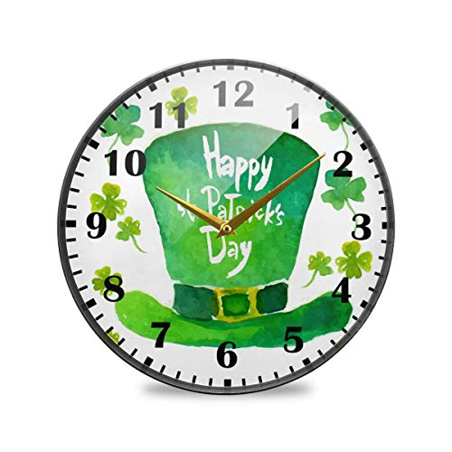 Jacque Dusk Reloj de Pared Moderno,Leprechaun Hat Shamrock Clover Feliz Día Patricio,Grandes Decorativos Silencioso Reloj de Cuarzo de Redondo No-Ticking para Sala de Estar,25cm diámetro