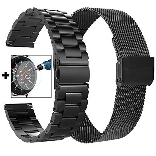 CAGOS Galaxy Watch 46mm/Ticwatch Pro Bands, Solid Stainless Steel Metal + Milanese Loop Mesh Strap Replacement Band for Ticwatch Pro/Galaxy Watch 46mm Smartwatch (Metal+Mesh Black XLarge)