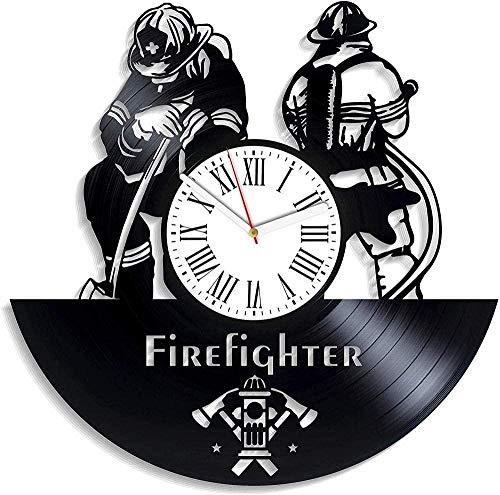 zgfeng Reloj de Pared de Vinilo Departamento de Bomberos Reloj de Pared de Vinilo con decoración Moderna y Vintage-Sin LED