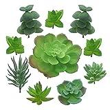 PietyDeko Piante Grasse Finte Decorative, 10 Pezzi Verde Grasse Artificiali Piccole Cactus...