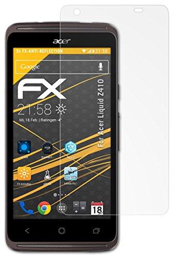 atFolix Panzerfolie kompatibel mit Acer Liquid Z410 Schutzfolie, entspiegelnde & stoßdämpfende FX Folie (3X)
