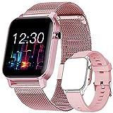 Reloj Inteligente, Smartwatch con Oxígeno Sanguíneo Presión Arterial Frecuencia Cardíaca, Pulsera Actividad Impermeable IP68 para Hombre Mujer para Android iOS (Pink)