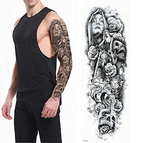 7pcs Tatuaje Tatuaje metálico de plata & amp; Tatuaje completa Virgen del tatuaje del brazo