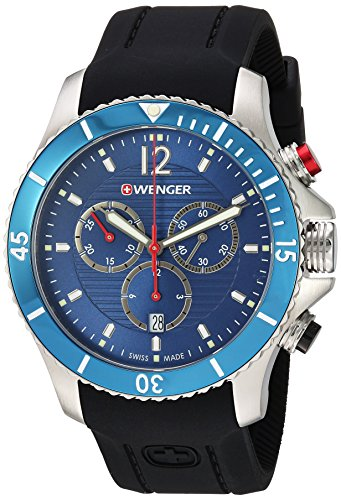 Wenger Men's Seaforce Chrono Stainless-Steel Swiss-Quartz Watch with Silicone Strap, Black, 21 (Model: 01.0643.110)