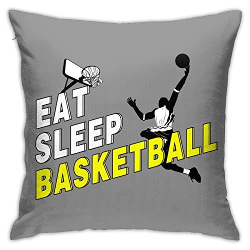 tour Eat Sleep Basketball 2 Print Cotton Linen Decorative Throw Pillow Case Pillow Cover Home Decor for Sofa Car Bedroom Fundas para Almohada 16x16Inch(40cmx40cm)