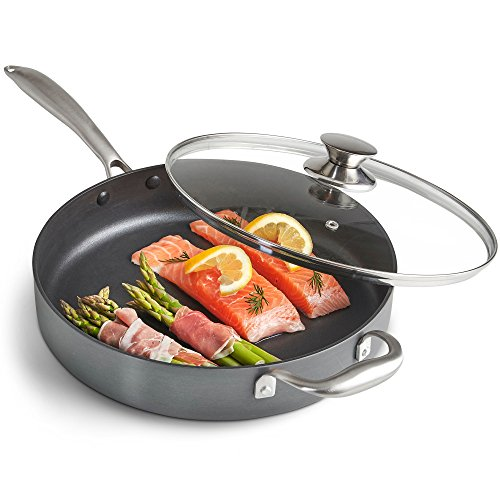 VonShef Hard Anodized Sauté Pan 28cm / 3.5L - Suitable for All Hobs - Premium Aluminium with Non Stick and Glass Lid - Cool Touch Silicone Handle