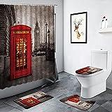 Londres Big Ben Cabina de teléfono roja París Paisaje de la Calle Cortina de Ducha Edificio Retro decoración de baño Alfombra Alfombra de baño Juego de Alfombrilla de baño
