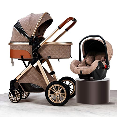 HEAYU 3-in-1 Travel System Baby Pram, High Landscape Anti-Shock Newborn Baby Stroller with Stroller Organizer, Pushchair & Accessories (Color : Brown)