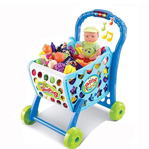 TikTakToo Einkaufswagen Einkaufstrolley für Kinder mit Musik und Licht, blau, gefüllt mit 36 teiligem Zubehör Kaufladen Kaufmannsladen Tante Emma Laden Verkaufsshop