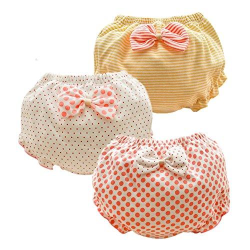 JIEYA Ropa interior de bebé para niñas pequeñas, bragas de lazo, paquete de 3