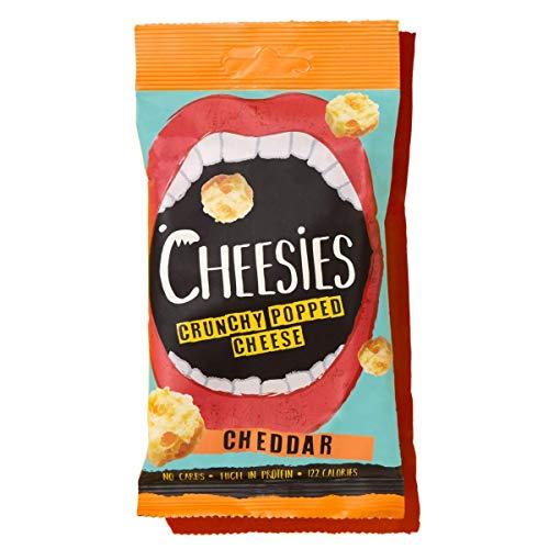 Cheesies Knuspriger gepoppter Käse-Snack, Cheddar. Ohne Kohlenhydrate, mit hohem Proteingehalt, glutenfrei, vegetarisch, Keto. Cheddar 12 x 20g Packungen