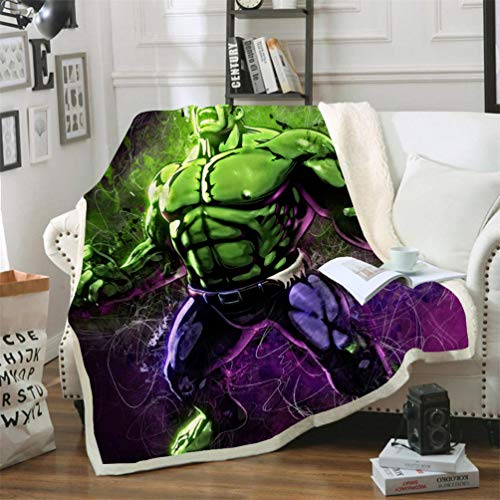 DFTY Marvel Avengers Fleecedecke, Kinderdecke, Hulk Manga, Digitaldruck, 3D, Mikrofaser, Camping-Decke (1,150 x 200 cm)
