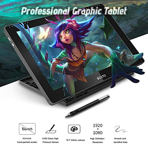 Fesjoy Tablette zeichnen 16HDK Tragbares 15,6-Zoll-H-IPS-LCD-Grafiktablett-Display 8192 Druckstufe Aktivtechnologie USB-betriebenes, verbrauchsarmes Grafiktablett mit interaktivem Eingabestift