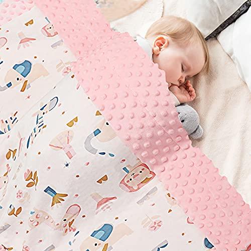 Manta para bebé 100% algodón orgánico, Manta para niños de Forro Polar 70x105cm, Manta Rosa de Verano de Doble Cara para niño y niña