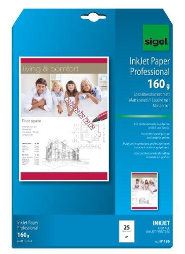 Sigel InkJet - Papel mate profesional (160 g, A4, para impresora de inyección), color blanco, 25 unidades