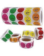 5 rollen Smiley sticker, 2500 stuks blij gezicht stickers, dank u label sticker glimlach, Bedankt labelpapier, bedankt stickers roze(geel, rood, roze, groen en oranje) HOINCO