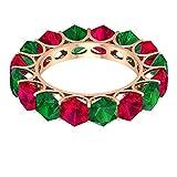 Anillo alternativo relleno de cristal rubí de 5,2 quilates, anillo de esmeralda creado en laboratorio de 3,8 quilates, anillo de eternidad delicado, 14K Oro rosa, Size:EU 54
