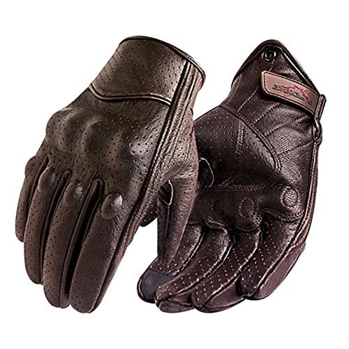 UKKD Guantes para Moto Guantes De Motocicleta Hombres Pantalla Táctil De Cuero Guante Eléctrico Guante Ciclismo Dedo Completo Moto Moto Bicicleta Motocross-Perforated Brown,XL